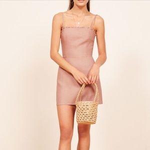 Reformation ruffle linen mini dress
